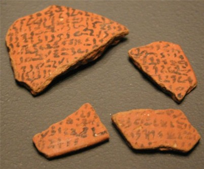 Execration texts on pottery shards