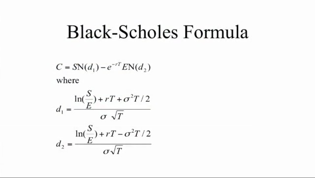 My stock options black scholes calculator