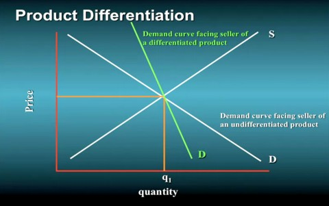 Product differentiation to make demand less price elastistic