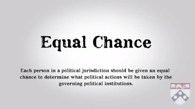 equal chance to determine what political actions will be taken